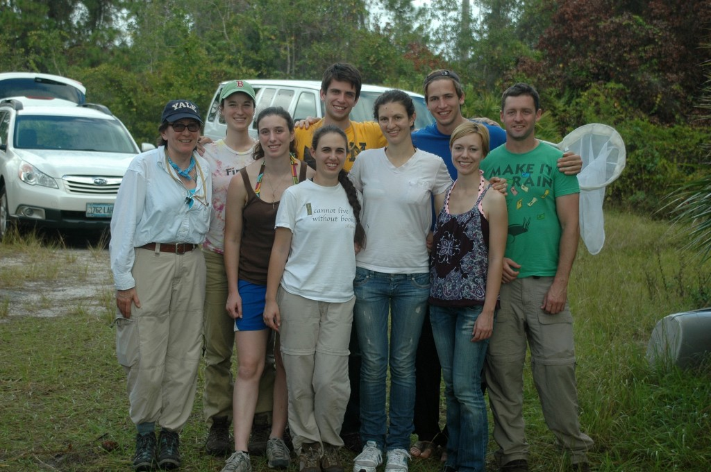 Marta Wells with students on an insect-gathering expedition.  Photo courtesy of Marta Wells.