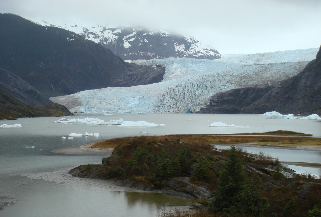 Mendenhall Glacier has receded more than a mile since 1939.  Photo courtesy of the author.