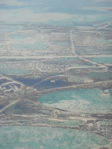 The Prudhoe Bay oil fields from the air.  Photo courtesy of the author.
