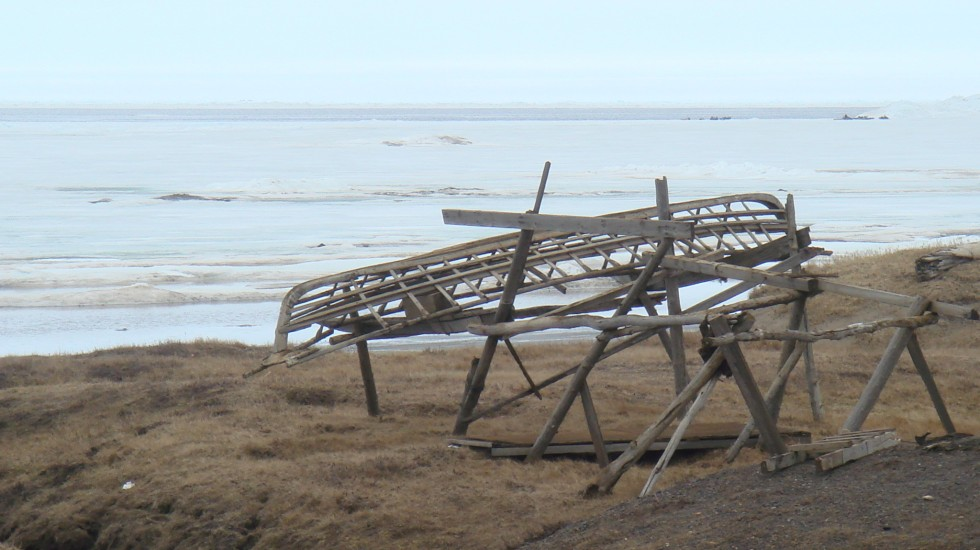The wooden frame of a whaling boat, without its sealskin cover, near Barrow, Alaska.  Photo courtesy of the author.