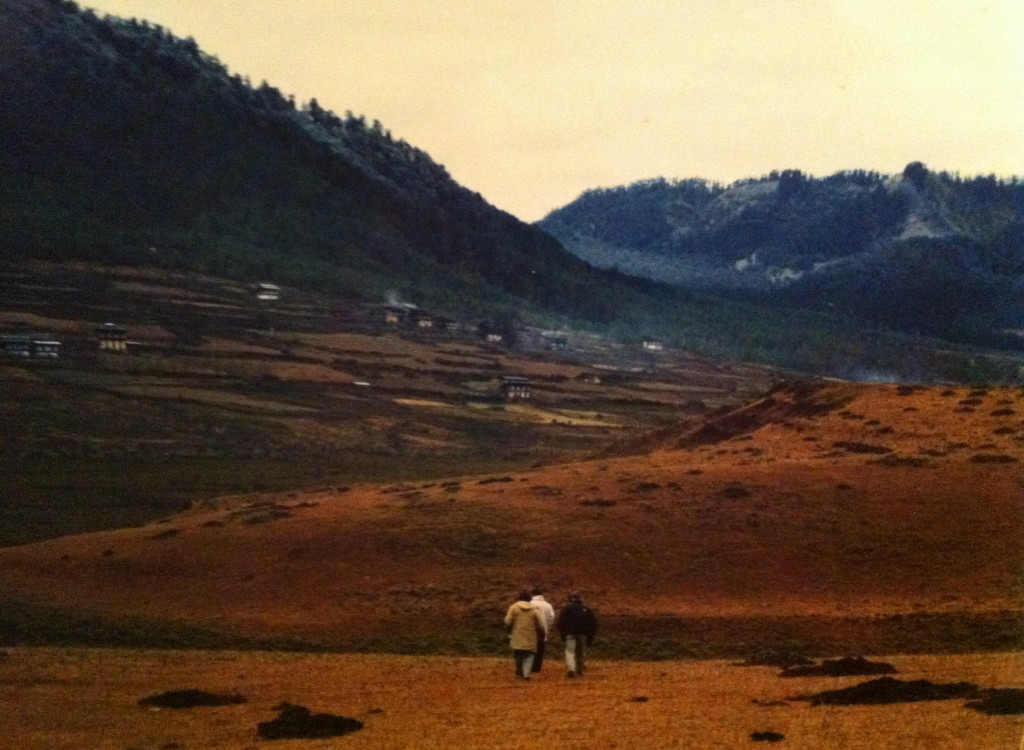 Walking in the Phobijikha Valley. Photo courtesy of Dasho Benji.