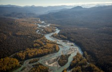 An aerial shot of the Susitna River. Photo by Travis Rummel