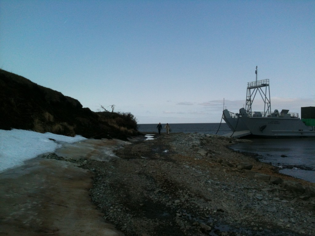 A supply ship docks on the shores of Mertarvik, the new town site for residents of Newtok. Photo by Will Murtha