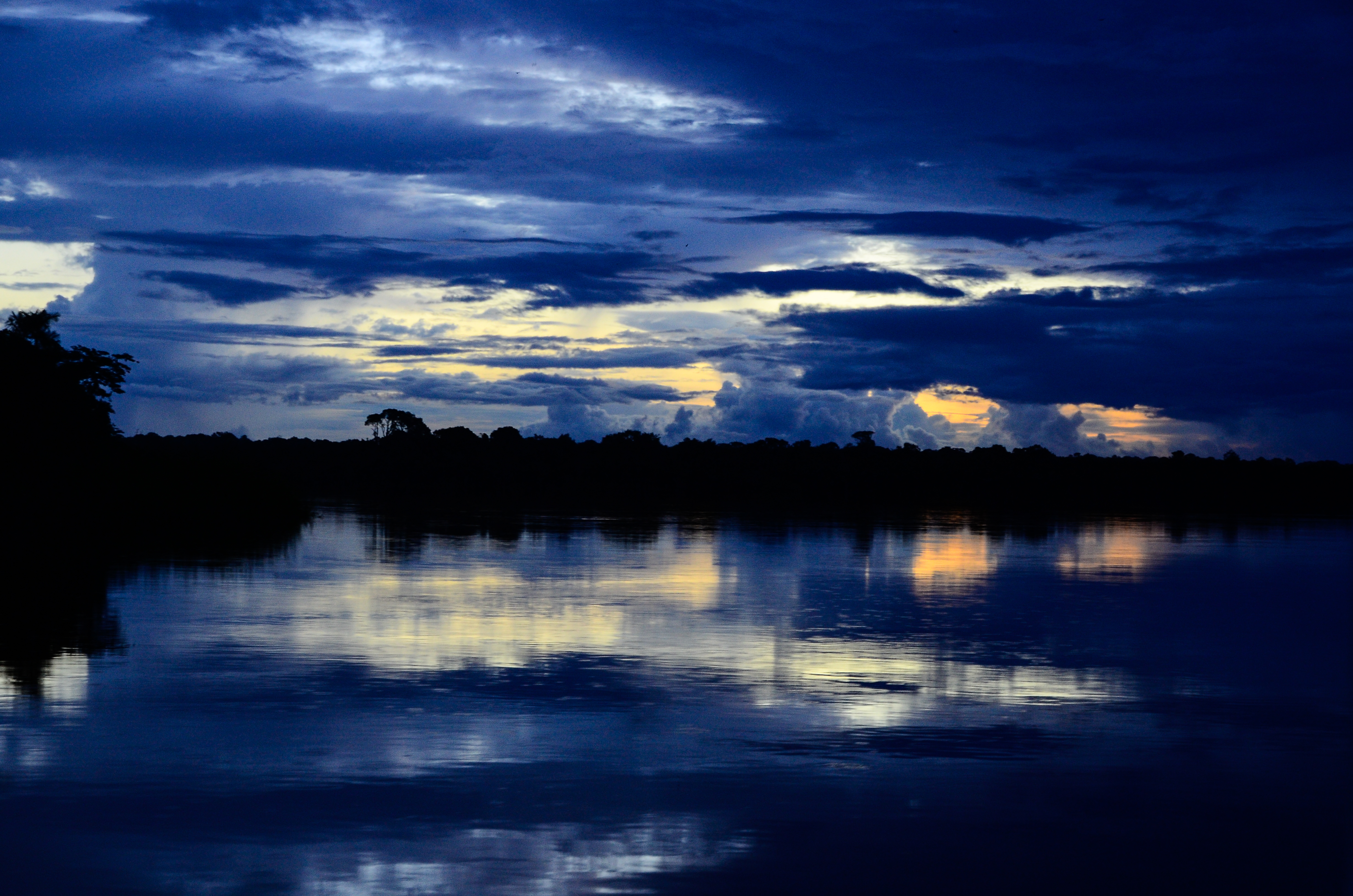 Sunset over the Amazon River.