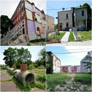 Owned/Abandoned: The drastic difference between an owned and a vacant property. Imagine what could be if more houses were revitalized and made into homes. Failing House: Rowhouses are meant to support each other. When one is demolished, it threatens the structural integrity of those around it. In this case, a neighboring house was demolished, the new external wall was left unreinforced, and a homeowner was left unsupported. Playground: Leftover concrete sewer pipes were repurposed as playground equipment during the 1960's installation of inner block parks in West Baltimore. Rowhouses & Lots: The view from an inner block park to the adjacent street wall through vacant lots. What causes these spaces in the first place? And who participates in, and benefits from, outside intervention?