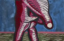 """Out for a Stroll"" Flashe on Canvas; 14"" x 11""[Artwork by Sean Hutton]"