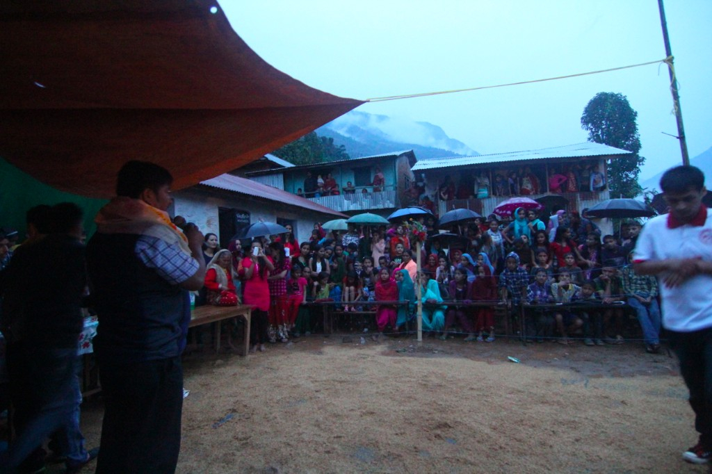 Constituent Assembly Candidate Making a Campaign Speech at Local Dashain Celebration – Archale, Nuwakot District