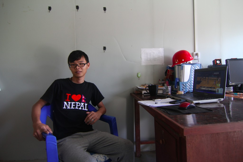 Chinese Engineer in the CGGC Site Offices for the Trishuli 3A Hydropower Project (60MW) – Shanti Bajaar, Nuwakot District