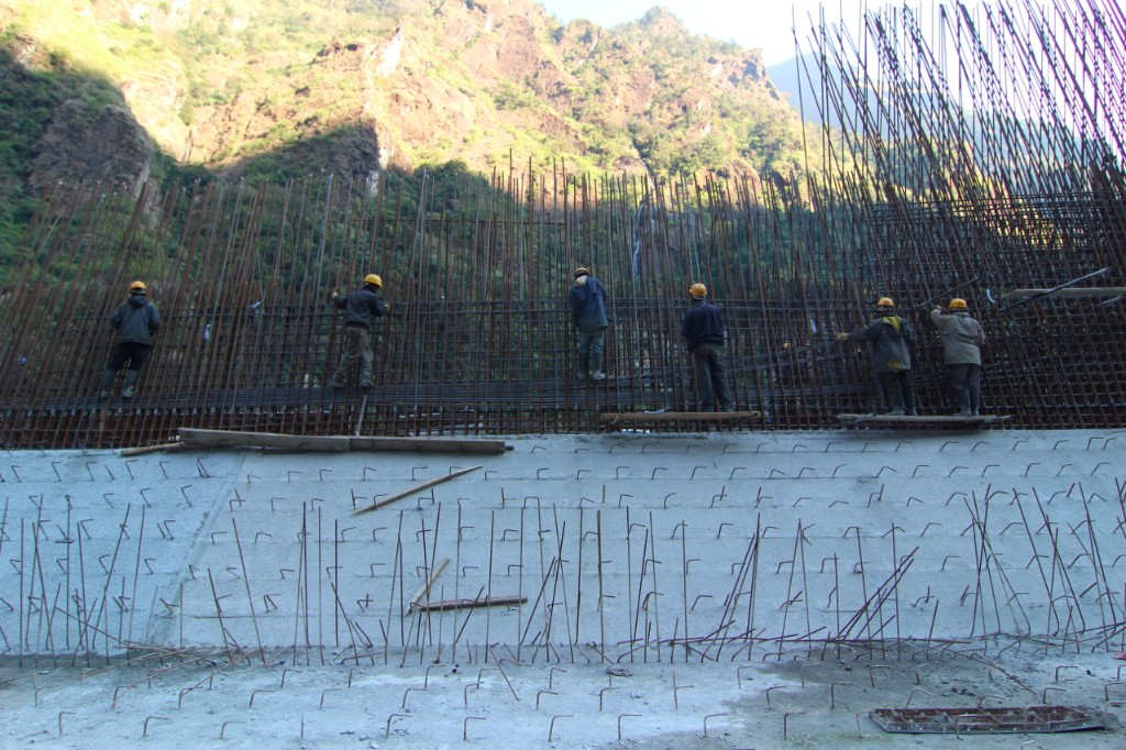 Workers Constructing the Desanding Basin of the Upper Tamakoshi Hydropower Project (456 MW) – Lamabagar, Dolakha District