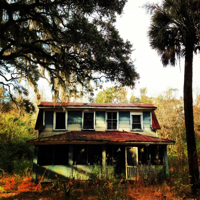 Live Oak, Dilapidated Triple Dormer, and Palmetto, in McClellanville, South Carolina